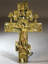 Religious Interest: Gold Gilt and Enamel Corpus, cross, Christ on the cross with writing to the
