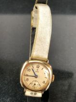 9ct Gold cased Watch by Rolex Tudor, winds and runs with subsiduary dial at 6 oclock