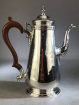 Hallmarked Silver coffee pot approx 22cm tall total weight approx 530g maker D & J WELLBY