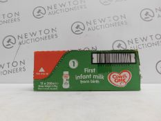 1 BOXED PACK OF 12 COW AND GATE FIRST INFANT MILK 12 X 200ML RRP £29