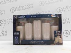 1 BOXED SET OF 5 LED FLAMELESS LED WAX CANDELS RRP £39.99