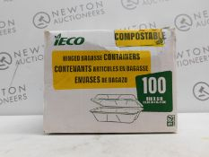 1 BOXED ECO COMPOSTABLE 60PC (APPROX) HINGED BAGASSE CONTAINERS RRP £39.99