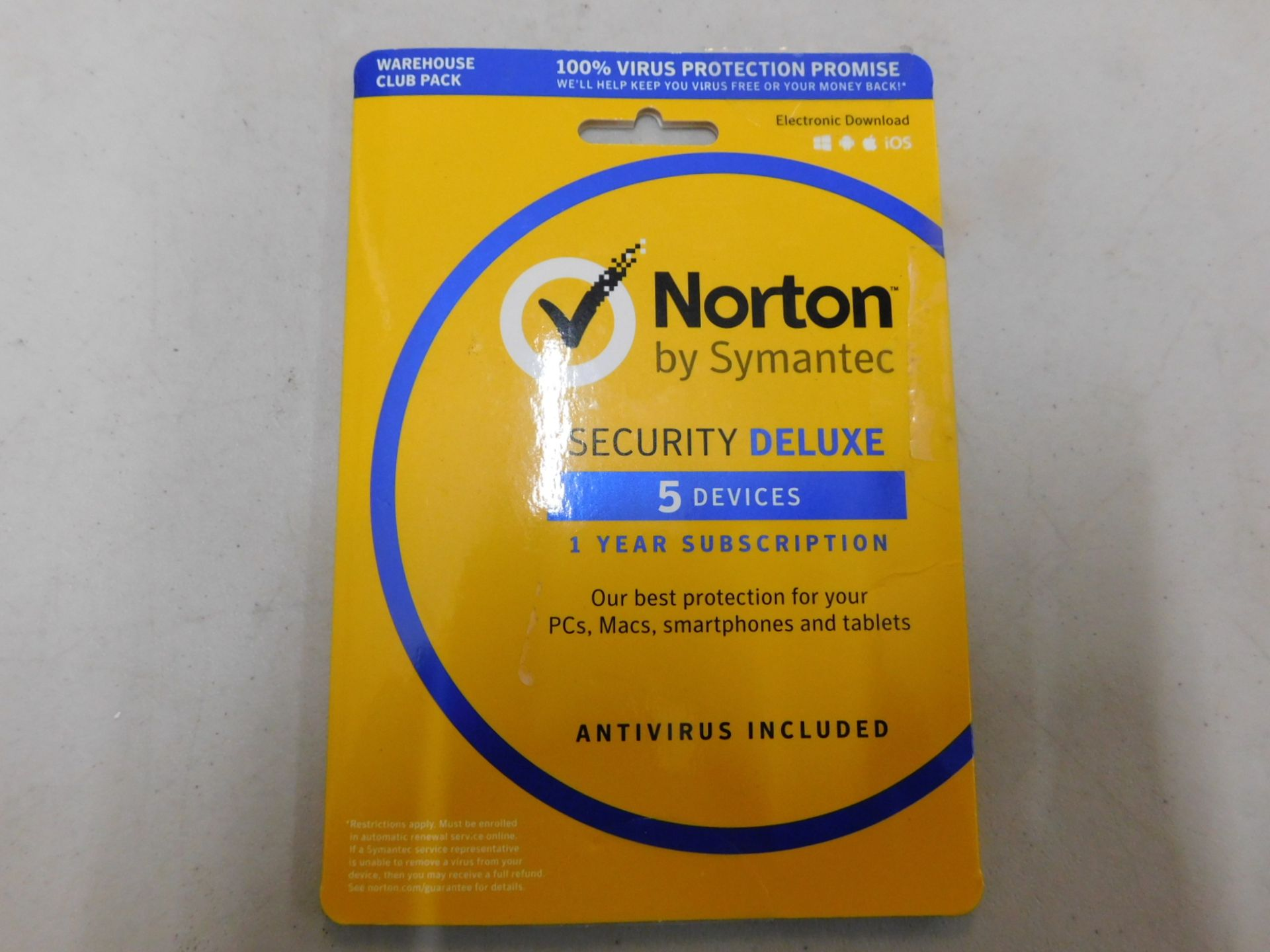 1 PACK OF NORTON SECURITY DELUXE 1 YEAR SUBSCRIPTION RRP £39.99