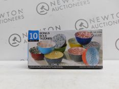 1 BOXED SET OF 10 STONEWARE SERVING BOWLS RRP £39.99