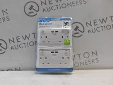 1 PACKED BRITISH GENERAL 13 A DOUBLE SWITCHED SOCKET WITH 2 X USB CHARGER PORTS RRP £19