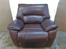 1 LA-Z-BOY LEATHER BROWN POWER RECLINER SOFA RRP £499 (MISSING POWER CABLE)