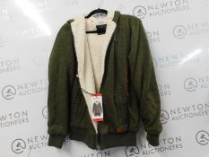 1 MENS BUFFALO SHERPA LINED HOODIE IN OLIVE GREEN SIZE M RRP £99