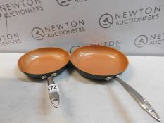 1 SET OF 2 GOTHAM STEEL PRO NON-STICK TITANIUM FRYING PANS RRP £39.99