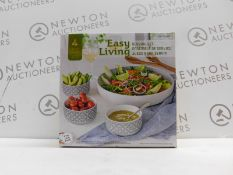 1 BOXED EASY LIVING 4PC SERVING SET RRP £29 (LARGE BOWL CHIPPED EDGE)