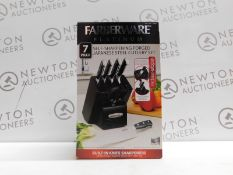1 BOXED FARBERWARE PLATINUM 7PC SELF SHARPENING JAPANESE STEEL KNIFE BLOCK SET RRP £79.99 (LIKE