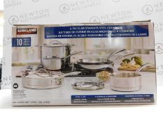 1 BOXED KIRKLAND SIGNATURE 10 PIECE (APPROX) 5-PLY CLAD STAINLESS STEEL COOKWARE SET RRP £249.99