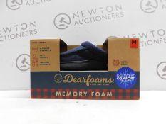 1 BOXED PAIR OF DEARFOAMS MENS SIZE M MEMORY FOAM SLIPPERS RRP £34.99