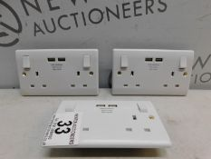 1 SET OF 3 BG 13A SWITCHED DOUBLE SOCKET WITH USB CHARGER IN WHITE MOULDED RRP £49.99