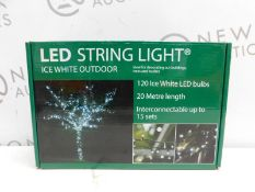 1 BOXED LIGHTS4YOU 20M (66 FT) 120 LED ICE WHITE OUTDOOR STRING LIGHTS RRP £49