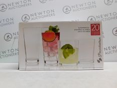 1 BOXED PASABAHCE 20 PIECE (APPROX) DISHWASHER SAFE GLASSWARE SET RRP £29.99