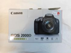 1 BOXED CANON 2000D DSLR CAMERA KIT COMES WITH 18-55MM LENS RRP £499.99