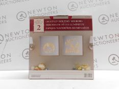 1 BOXED LIGHT UP HOLIDAY MIRRORS RRP £29