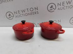 1 SET OF 2 LE CREUSET MINI COCOTTE CHERRY RED STONEWARE RRP £39.99