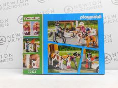 1 BRAND NEW BOXED PLAYMOBIL COUNTRY FARM PLAY SET WITH TRAILER STABLES HORSE RRP £39