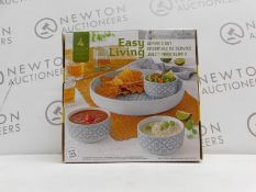 1 BOXED OVER & BACK STONEWARE CHIP AND DIP SERVING SET RRP £29 (3 IN BOX, MISSING LARGE BOWL)