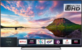 1 TOSHIBA 55U6763 4K SMART TV WITH STAND AND REMOTE RRP £449 (WORKING)