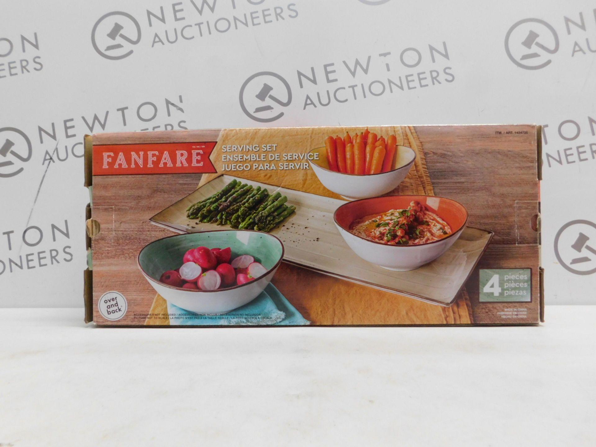 1 BOXED FANFARE OVER & BACK FANFARE STONEWARE 4 PIECE SERVING SET RRP £29