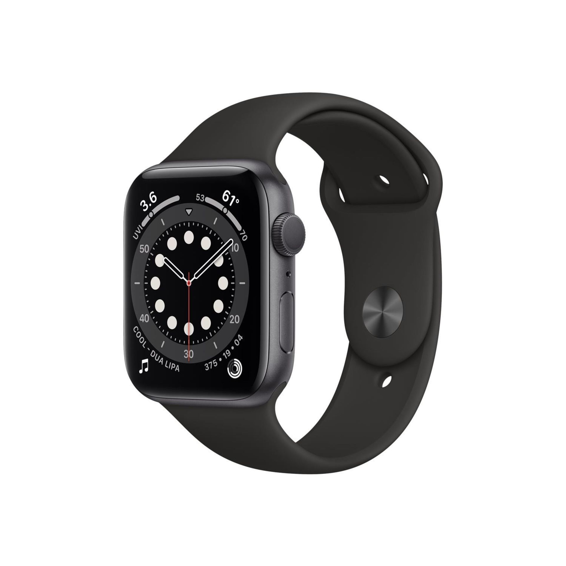 1 BOXED BRAND NEW APPLE WATCH M00H3B/A SERIES 6 44MM SPACE GRAY ALUMINIUM WITH BLACK SPORT BAND