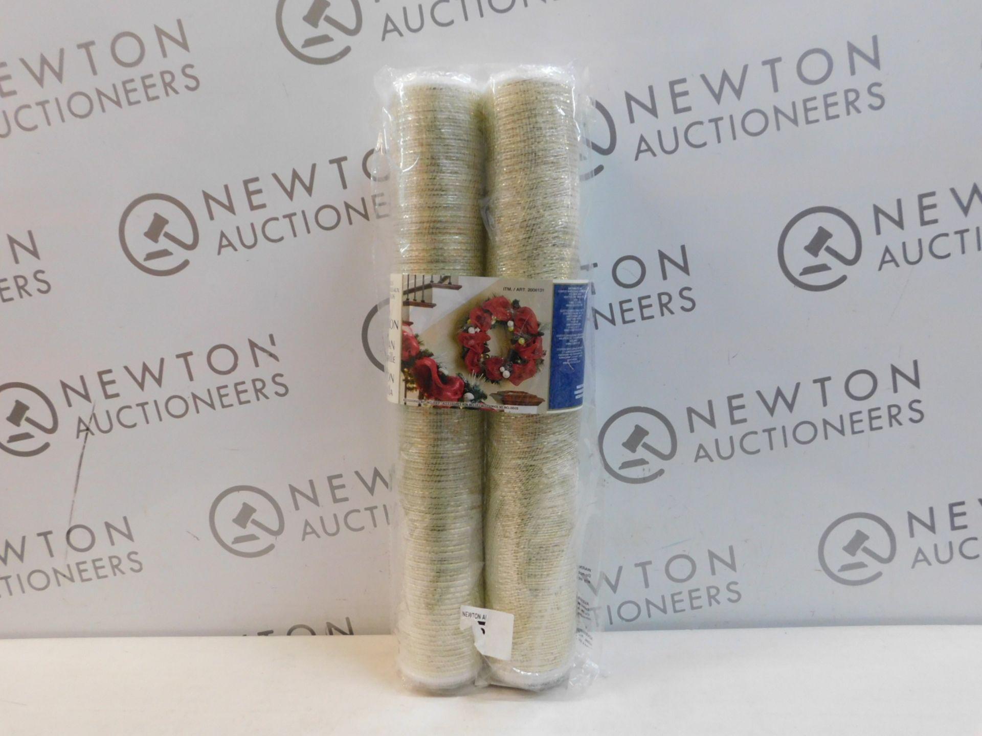 1 BRAND NEW DECORATIVE MESH CHRISTMAS RIBBON GARLAND   2 PACK RRP £24.99