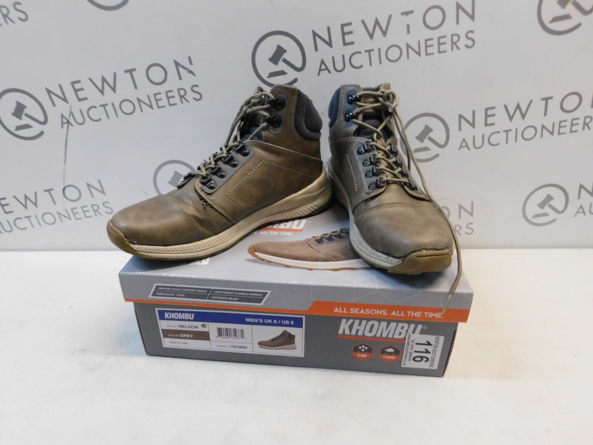 1 BOXED PAIR OF KHOMBU NELSON SHOES UK SIZE 8 RRP £59 (HAS RIPS)