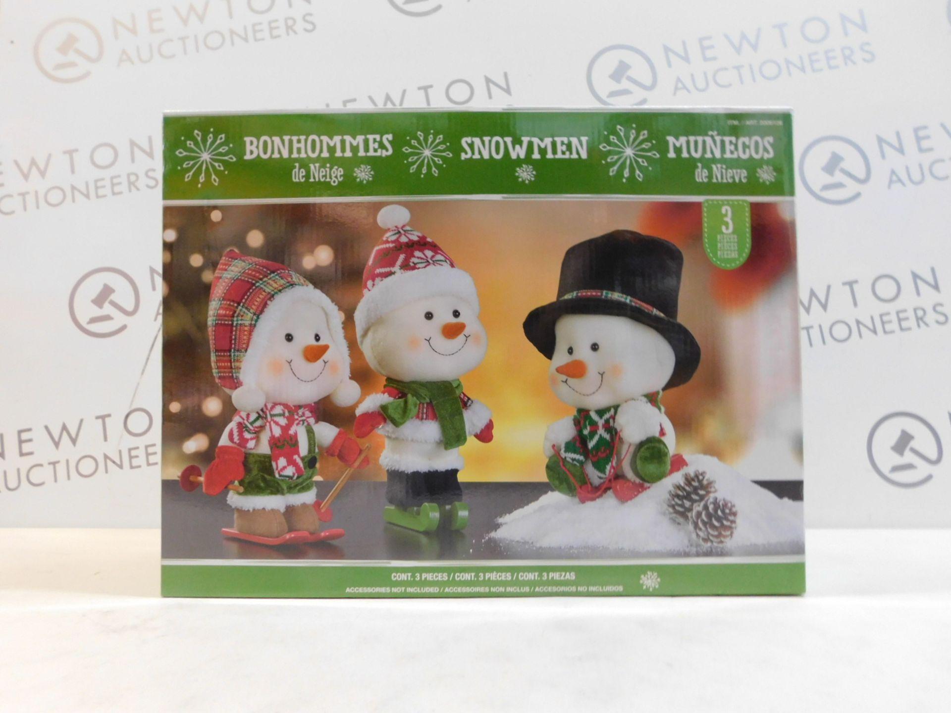1 BOXED 12 INCH (30 CM) BIG HEAD PLUSH CHRISTMAS SNOWMEN FIGURES - SET OF 3 RRP £39
