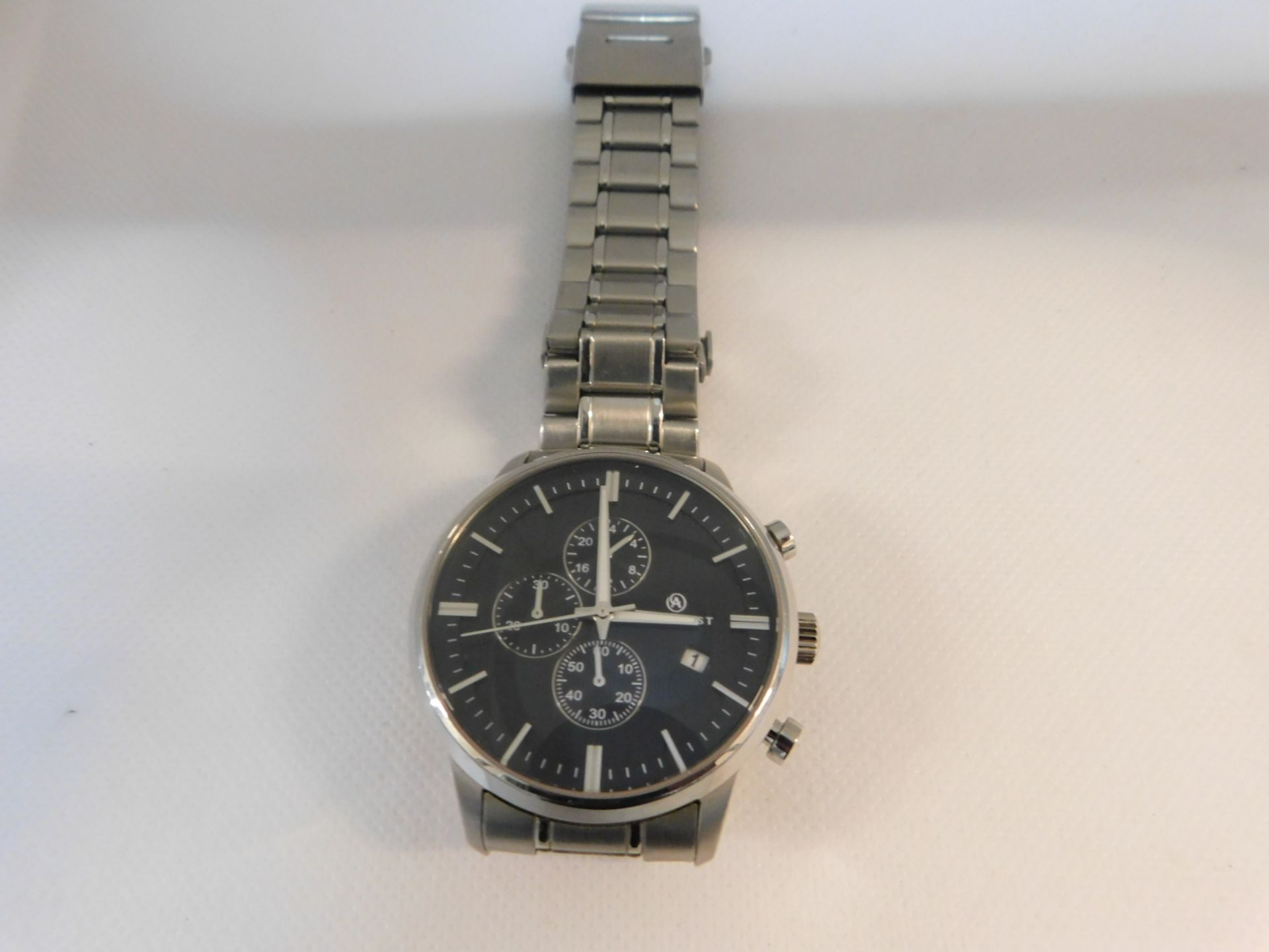 1 ACCURIST CHRONOGRAPH BLACK DIAL STAINLESS STEEL BRACELET GENTS WATCH MODEL 7059 RRP £149.99