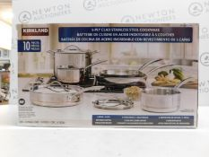 1 BOXED KIRKLAND SIGNATURE 13 PIECE (APPROX) TRI-PLY CLAD STAINLESS STEEL COOKWARE SET RRP £249.99