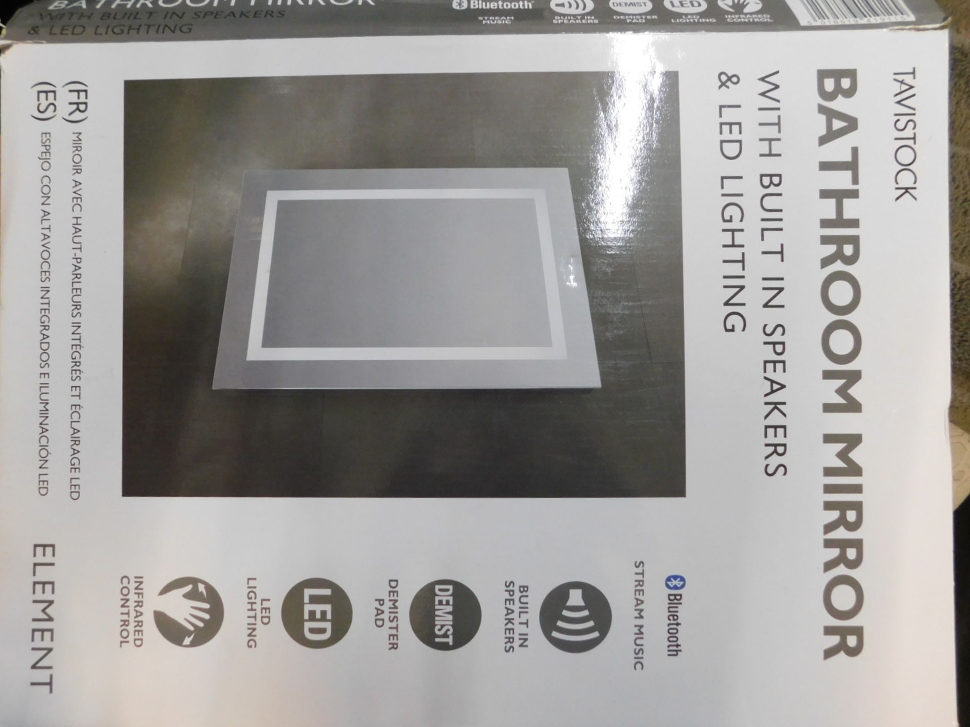 1 BOXED TAVISTOCK ELEMENT BLUETOOTH SPEAKER LED BATHROOM MIRROR RRP £199