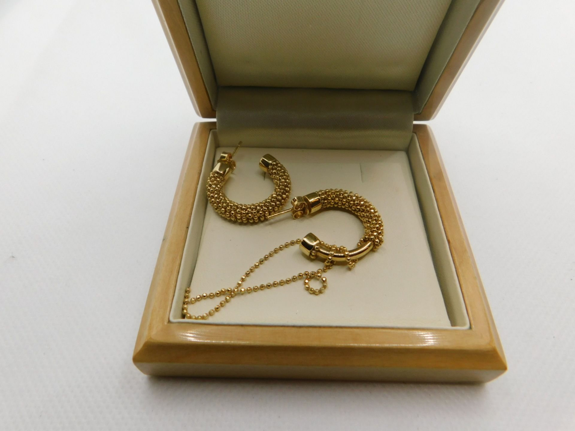 1 BOXED 14KT GOLD BEADED EARRINGS RRP £399 (ON 1 EARRING BEADS COMING OFF)