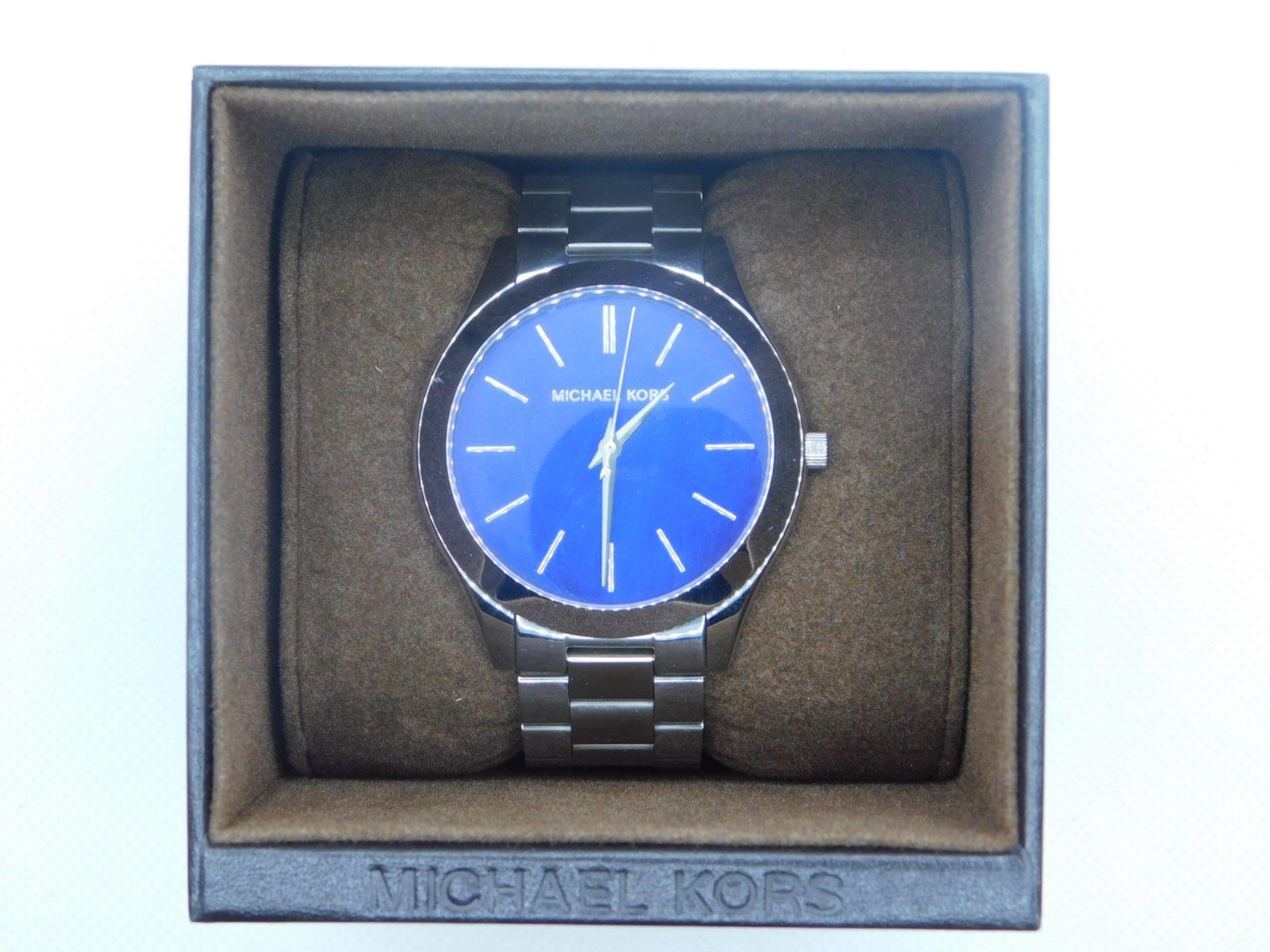 1 BOXED MICHAEL KORS LADIES MK3379 SLIM RUNWAY SILVER STAINLESS STEEL BRACELET WATCH RRP £199
