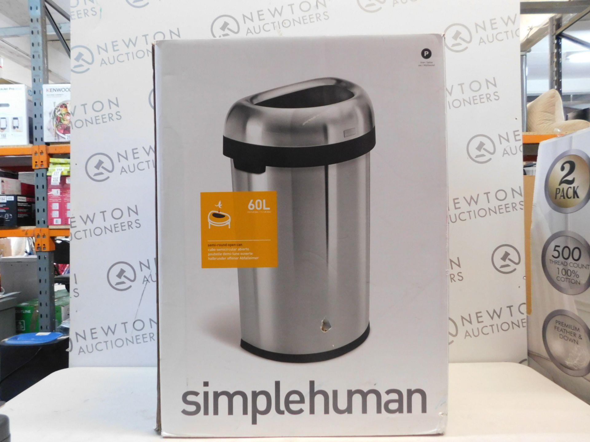 1 BOXED SIMPLEHUMAN 60L SEMI-ROUND OPEN CAN BIN RRP £199