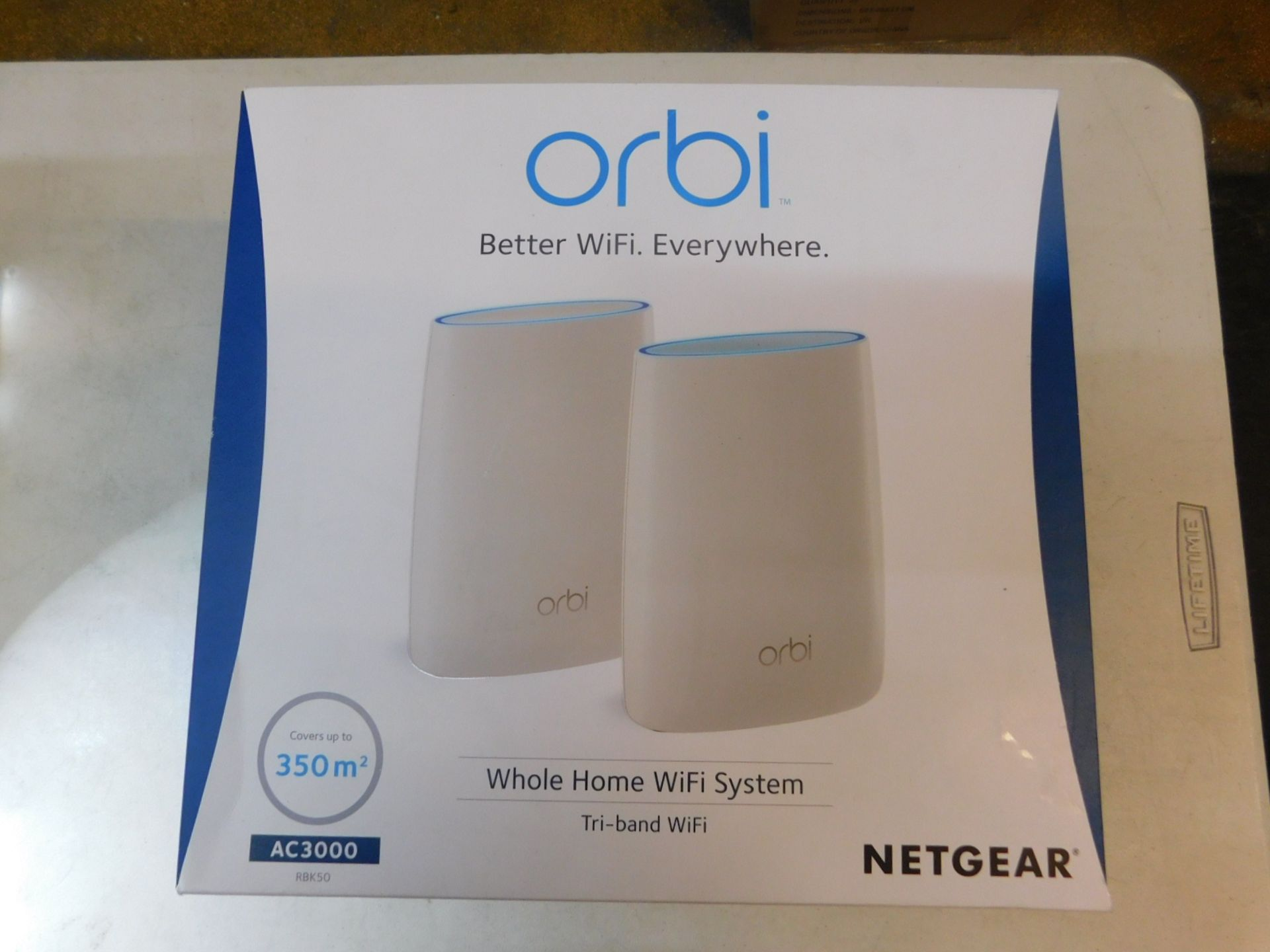1 BOXED NETGEAR ORBI WHOLE HOME WIFI SYSTEM MODEL AC3000 COVERS UPTO 350 METERS SQUARED RRP £349