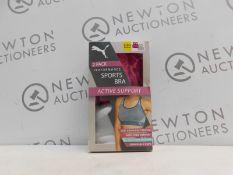 1 BOXED 2PK PUMA WOMEN'S PERFORMANCE SEAMLESS SPORTS BRA SIZE SMALL RRP £29.99