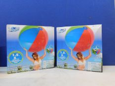 """1 SET OF 2 BRAND NEW BOXED SET OF 2 PACK BESTWAY 60"""" H2O GO INFLATABLE BEACH BALLS RRP £39.99"""