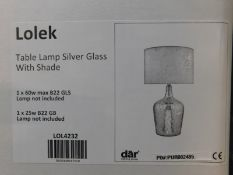1 BOXED LOLEK SILVER GLASS DUAL LIGHT TABLE LAMP RRP £119