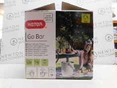 1 BOXED KETER GO BAR COOL BAR & PORTABLE SIDE TABLE ICE BOX RRP £49.99 (BROKEN HANDLE)