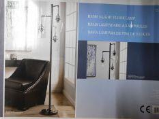 1 BOXED STYLECRAFT BASIA 3 ARM NICKEL FLOOR LAMP RRP £89