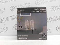 1 BOXED SET OF 2 LUMIS LIGHTING KRISS KROSS TABLE LAMPS RRP £39