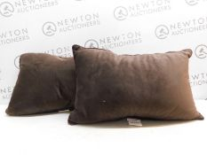 2 ARLEE HOME FASHIONS RECTANGLE VELVET LUXURIOUS BROWN REST SUPPORT CUSHIONS RRP £12.99
