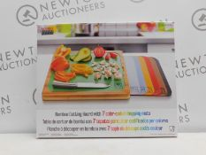 1 BOXED SEVILLE CLASSICS BAMBOO CHOPPING BOARD WITH 7 (APPROX) COLOUR-CODED MATS RRP £29.99