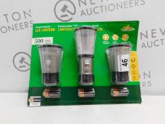 1 PACKED CASCADE MOUNTAIN TECH 3-PACK COLLAPSIBLE LED LANTERNS- 500 LUMEN RRP £29