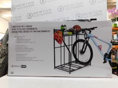 1 BOXED BIRDROCK HOME 3 BIKE STAND RACK WITH STORAGE RRP £99