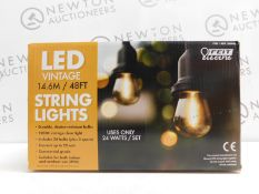 1 BOXED FEIT 48FT (14.6M) HEAVY DUTY VINTAGE LED WATERPROOF STRING LIGHTS RRP £89