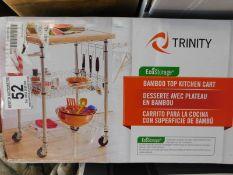 1 BOXED TRINITY ECOSTORAGE BAMBOO KITCHEN CART RRP £149