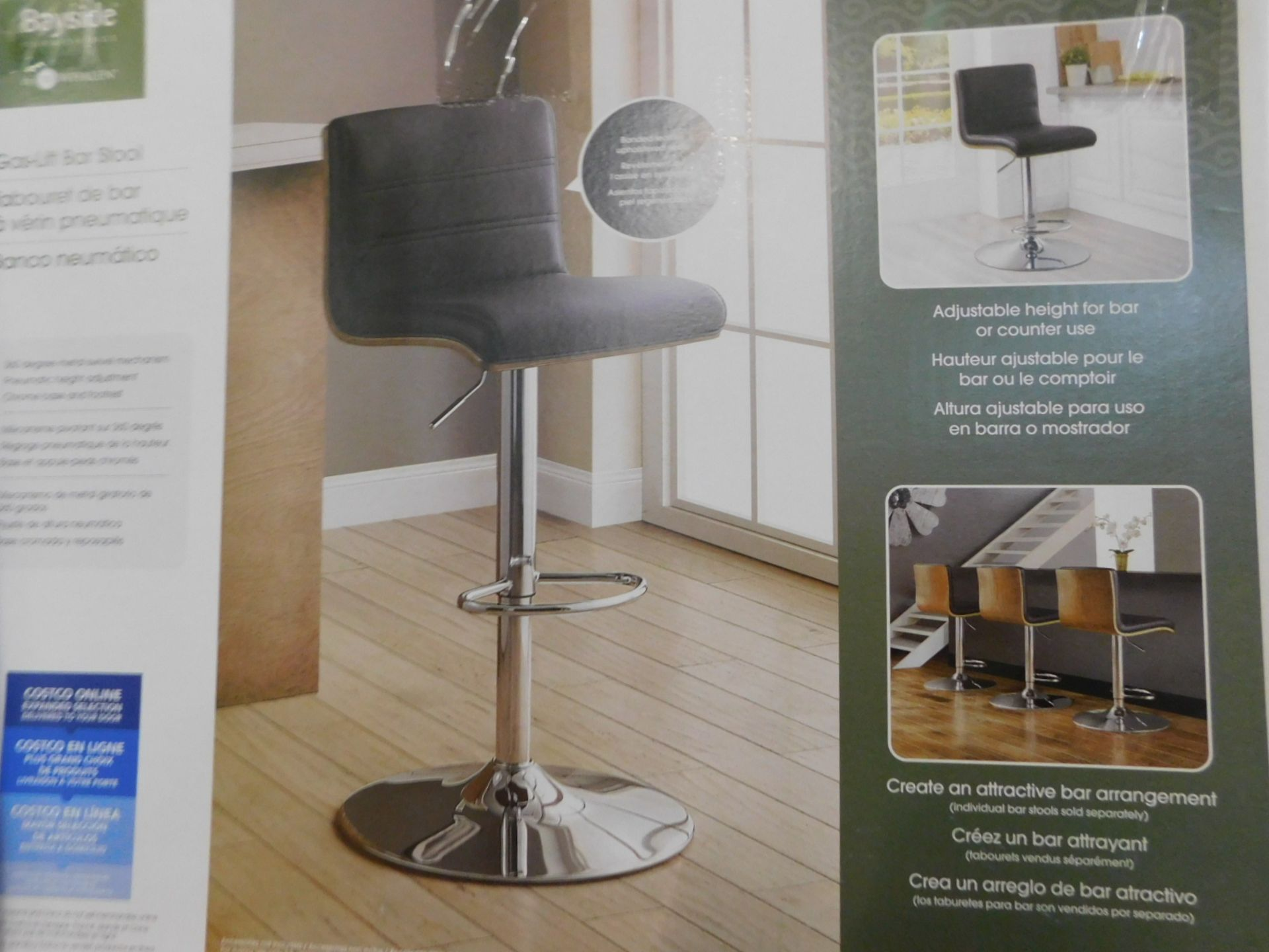 1 BOXED BAYSIDE FURNISHINGS BLACK FAUX LEATHER AND WOODEN BACK GAS LIFT BAR STOOL RRP £119.99